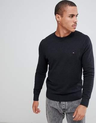 Tommy Hilfiger pima cotton cashmere knit crewneck sweater flag logo in black marl