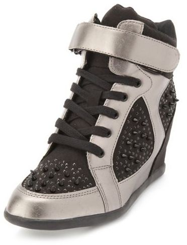 Charlotte Russe Spiked Lace-Up Wedge Sneaker