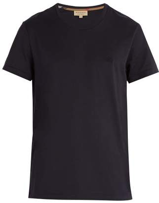 Burberry Logo Embroidered Cotton Jersey T Shirt - Mens - Navy