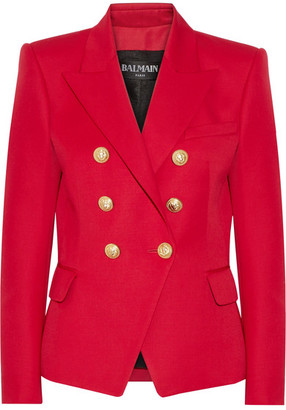 Balmain - Double-breasted Wool Blazer - Red $2,230 thestylecure.com