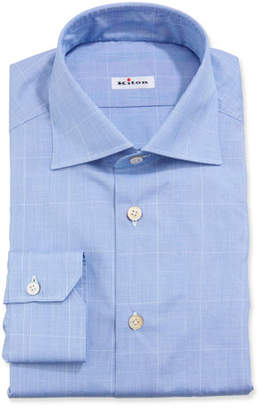 Kiton Men's Long-Sleeve Plaid Dress Shirt