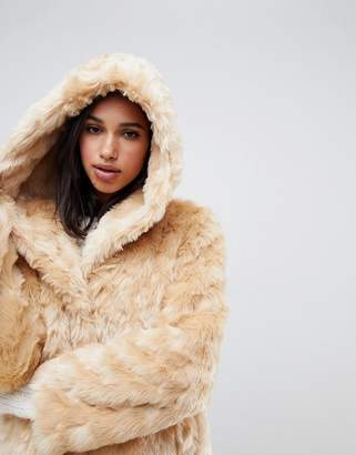 Asos Design DESIGN hooded fluffy faux fur coat