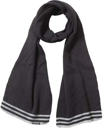 b979017b723 Kangaroo Poo Mens Knitted Striped Edge Scarf Black