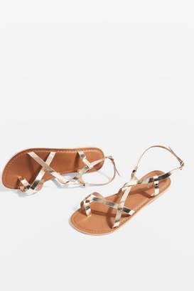 Topshop Black Hiccup Strappy Sandals