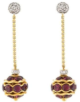 David Yurman 18K Garnet & Diamond Drop Earrings
