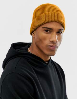 4d7e6f124e28 Asos Design DESIGN fisherman beanie in mustard recycled polyester