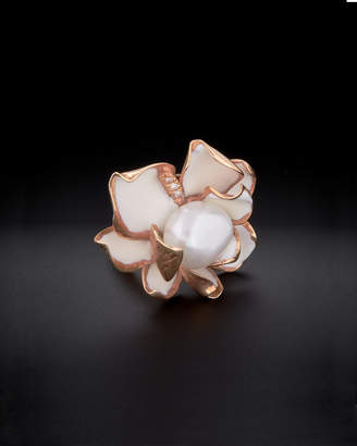 14K Italian Rose Gold Diamond & Pearl Flower Ring
