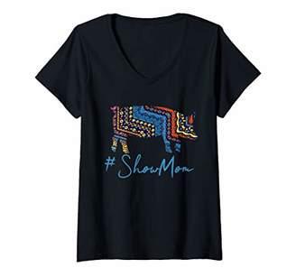 Womens Show Mom Pig V-Neck T-Shirt