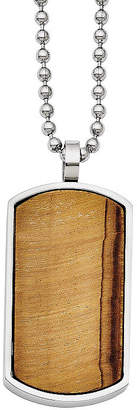 FINE JEWELRY Mens Tiger's Eye Stainless Steel Dog Tag Pendant