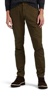Barneys New York MEN'S COTTON TWILL TROUSERS - OLIVE SIZE 36