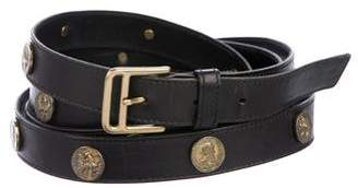 Oscar de la Renta Leather Studded Wrap Belt