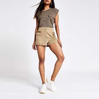 River Island Petite beige utility shorts