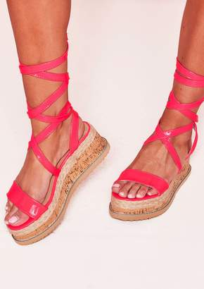 791be69cd5c2 Missy Empire Missyempire Jolene Neon Pink Tie Up Espadrille Platform Sandals