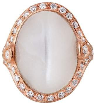 Jacquie Aiche Diamond Grey Moonstone Cocktail Ring - Rose Gold