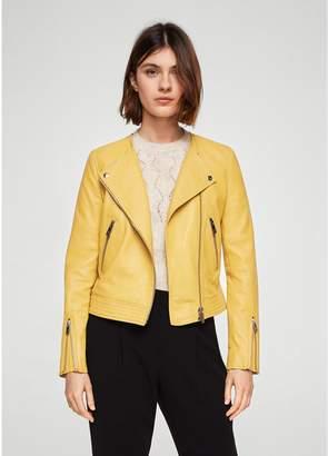 MANGO Zip Leather Jacket - Pastel Yellow