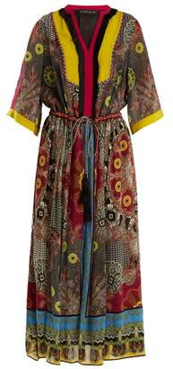 Etro Jungle Print Fringe Trimmed Silk Dress - Womens - Black Multi