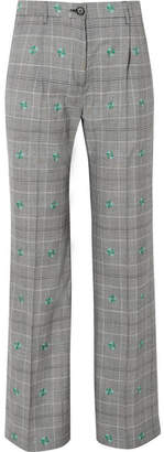 ALEXACHUNG Embroidered Checked Wool-blend Wide-leg Pants - Gray