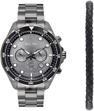 Bulova Men's Stainless Steel Chronograph Watch & Braided Bracelet Set - 98K104K