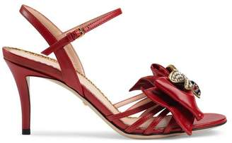 Gucci Leather mid-heel sandal with bow
