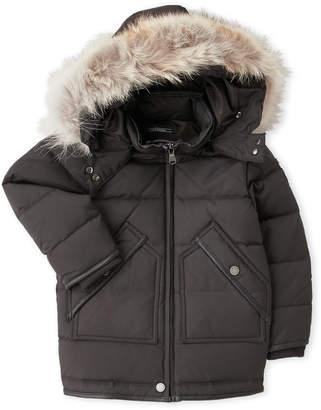 Pajar Canada (Toddler Girls) Real Fur Trim Hooded Coat