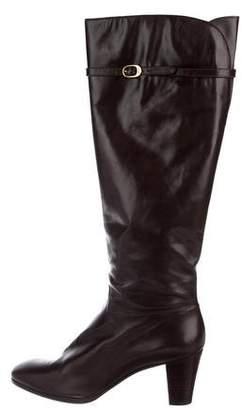Salvatore Ferragamo Round-Toe Leather Boots
