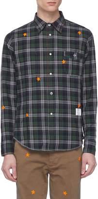 The Editor Star embroidered tartan plaid shirt