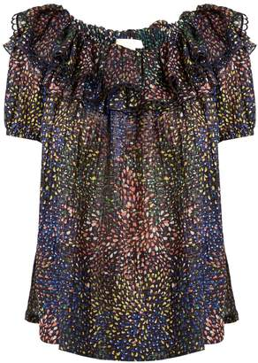 CHLOÉ Abstract-print ruffle-trimmed voile top