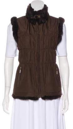 Jocelyn Fur-Accented Zip-Front Vest