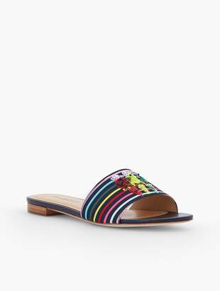 Talbots Keri Novelty Slide Sandals - Parrot Embroidery