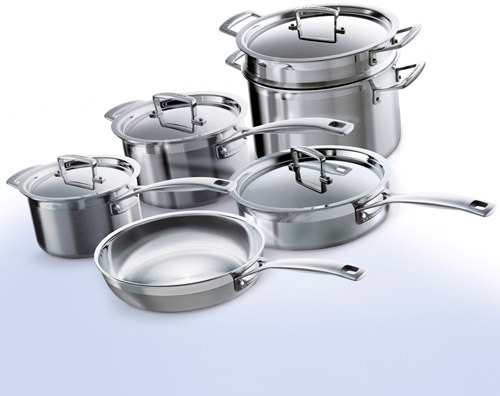 Le Creuset Tri-Ply Stainless-Steel Cookware Set, 10 piece