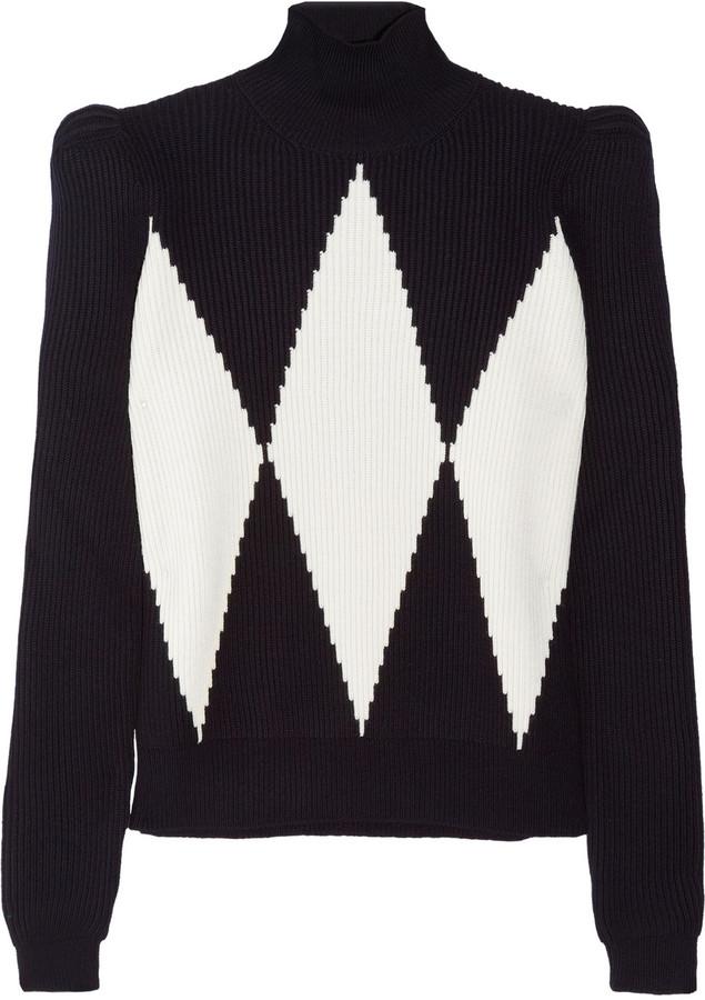 Stella McCartney Diamond-intarsia wool turtleneck sweater