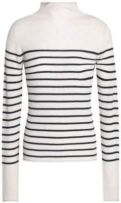 Vince Striped Ribbed-Knit Cashmere Turtleneck Sweater