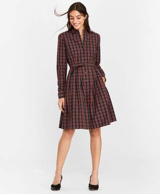 Brooks Brothers Plaid Clip-Dot Cotton Shirt Dress