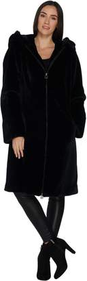 Dennis Basso Zip Front Long Faux Sheared Mink Coat with Hood