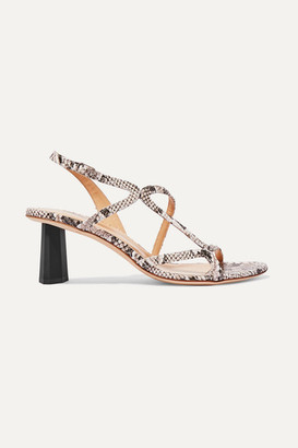 BY FAR Brigette Snake-effect Leather Slingback Sandals - Snake print
