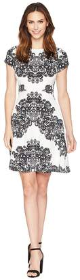 Adrianna Papell Lace Printed Fit Flare Dress Women's Dress