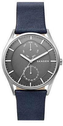 Skagen Holst Titanium Blue Leather Multifunction Watch