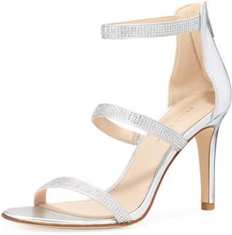 Pelle Moda Dalia Embellished Metallic Sandals, Silver