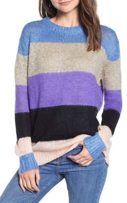 WOVEN HEART Fuzzy Stripe Sweater