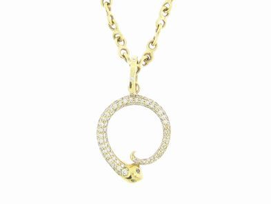 Temple St.Clair Pave Serpent Pendant in Yellow Gold