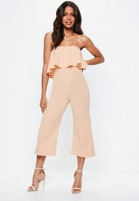 Missguided Nude Double Layer Culotte Romper