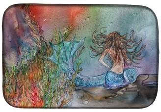 Caroline's Treasures Brunette Mermaid Water Fantasy Dish Drying Mat