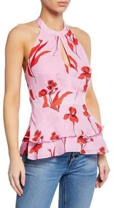 Parker Cate Floral Tiered Halter-Neck Top