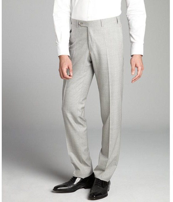 Canali light grey wool flat front straight leg pants