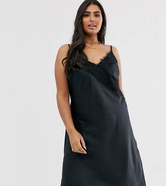 Simply Be midi slip dress with lace trim in black