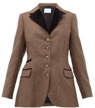 Racil Curtis Single Breasted Houndstooth Wool Jacket - Womens - Brown