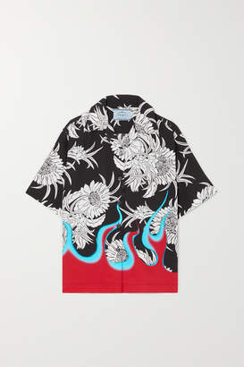 Prada Printed Poplin Shirt - Black