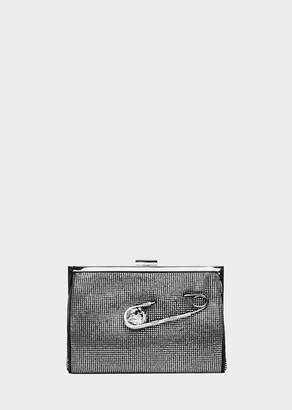 Versace Crystal Safety Pin Frame Clutch Bag