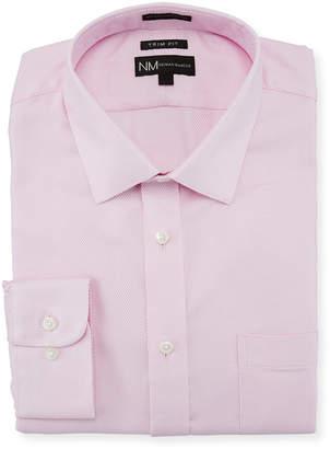 Neiman Marcus Trim-Fit Regular Finish Textured Dress Shirt, Pink
