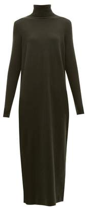 Allude Roll Neck Cashmere Sweater Dress - Womens - Khaki